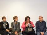 Del občinstva na debati o literaturah v Franciji, na Norveškem in v Sloveniji, med njim Brigitte Dusserre-Bresson, likovna umetnica, ilustratorka knjig ipd. (tretja z leve - bere programsko knjižico)